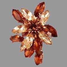 BeauJewels Topaz Pear Shaped Crystal Rhinestone Brooch