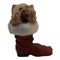 Steiff Bear #670862 dressed as Santa in Paper Mache Boot