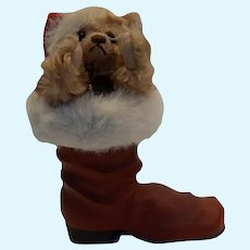 Steiff Bear #670862 dressed as Santa in Paper Mache Boot