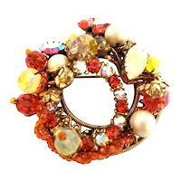 Original by Robert Rhinestone Glass Bead and Simulated Pearl Circle Brooch