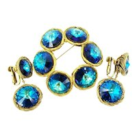 Vendome Blue Rivoli Twisted Wire Brooch and Screw Back Earring Set Book Piece