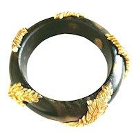 Dominique Aurientis Paris Couture Designer Wood Gold Tone Leaf Bangle Bracelet