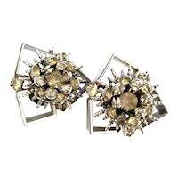 Hobe Modernist Silver Tone Framed Starburst Clip-On Earrings