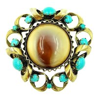 Original by Robert Brooch Marbled Lucite Cabochon Faux Turquoise Gold Tone