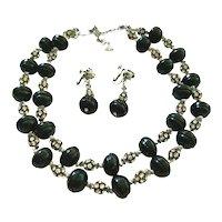 Vendome Black Bead Rhinestone 2 Strand Necklace Clip Earring Demi Parure