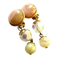 Les Bernard Dangle Clip-On Earrings Peach and Yellow Swirled Cabochons w Crystal Accents