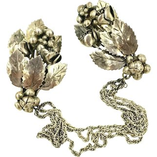 Hobe Sterling Silver Chatelaine Double Brooch Sweater Guard Vintage 1940s