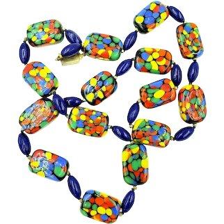 "Bright and Vibrant Les Bernard Confetti Art Glass Necklace 24"" Length"