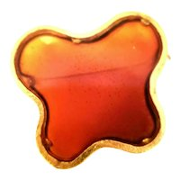 Poured Resin Amber Color Plique a Jour Style Art Brooch Translucent Freeform Butterfly