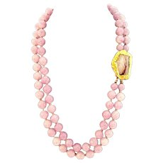 """Les Bernard Two Strand Lavender Knotted Bead Necklace with Gold Tone Decorative Clasp 20"""""""