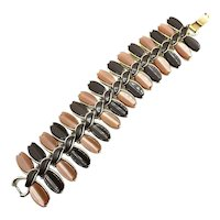 Lisner Thermoset Plastic Link Bracelet in Brown and Tan