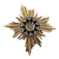 Florenza Renassaince Revival Black Glass and Burnished Gold Ton  Sunburst Brooch