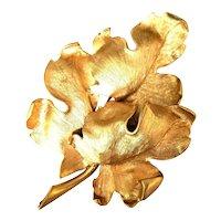 Large Judy Lee Gold Tone Curled Triple Oak Leaf Brooch