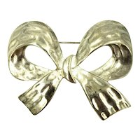 Erwin Pearl Bow Pin Brooch Silver Plated Embossed Signed P.E.P.