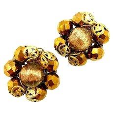 Hollycraft Copper Tone Beaded Filigree Clip Earrings