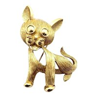 Trifari  Gold Ton Textured Open Work Cat Pin - Crown Mark