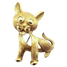 Trifari  Gold Ton Textured Open Work Cat Pin - Crown Mark