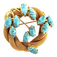Hobe Gold Tone Mesh Marquis Faux Turquoise Circle Wreath Brooch