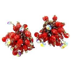 Hobe Red Bead Cluster Clip On Earrings