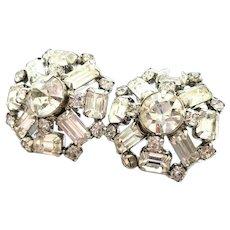 Large Weiss Clear Rhinestone Clip On Earrings