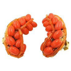 Hobé Bright Tangerine Orange Beaded Crescent Shaped Clip-On Earrings