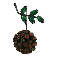 Warner Red Rhinestone Cherry Pin with Green Leaves and Japanned Metal