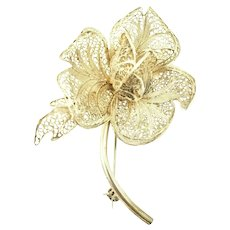Sterling Silver Cannetille Flower Pin Unsigned