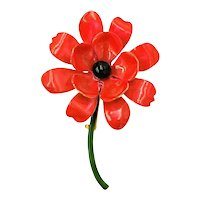 Original by Robert Enamel Flower Brooch Pin Red with Black Center