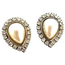 Vintage Dress Clips Set of 2 Rhinestone Faux Pearl Tear Drop Made in France