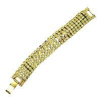 Gale Five Row Rhinestone Bracelet in Light Yellow Green