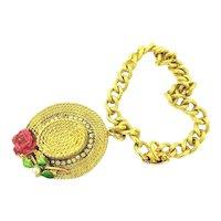 B.S.K. Gold Tone Link Bracelet with My Fair Lady Hat Charm