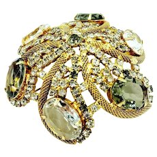 "Vintage Prong Set Large Rhinestone Mesh Brooch Round Domed 3"" Unsigned"