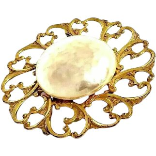 Miriam Haskell Glass Baroque Pearl and Gold Filigree Brooch