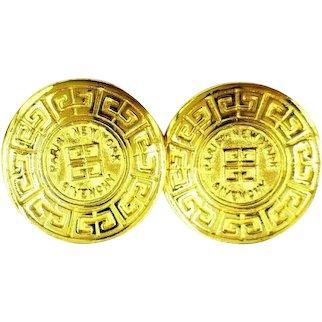 Givenchy Paris New York Logo Medallion Round Clip On Earrings
