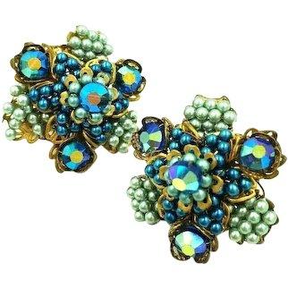 VENDOME Blue Hand Beaded Aurora Borealis Crystal Screw Clip Earrings