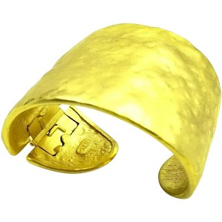 Kenneth Jay Lane Gold Tone Hammered Hinged Cuff Bracelet