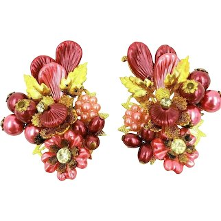 Beau Jewels Pink and Gold Tone Molded Bead and Rhinestone Clip On Earrings.  Signed.