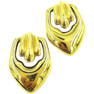 GIVENCHY Door Knocker Clip On Earrings Gold Tone Art Deco Look LARGE