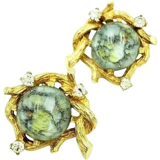 Boucher Blue Art Glass Clip On Earrings with Rhinestone Accents on Gold Tone Twigs