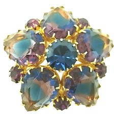 Unsigned Bi-Color Pronged Rhinestone Brooch Blue Purple High End Vintage