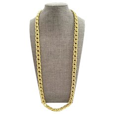 Erwin Pearl Necklace Double Link Curb Chain Polished Gold Tone