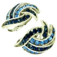 "Trifari Crown Mark ""Cavalcade"" Clip-On Earrings Blue Rhinestone Sliver Tone"