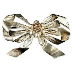 Large 1940s Hobé Sterling Silver Floral Bow Brooch