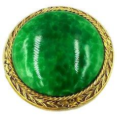 Robert Originals Vintage Green Art Glass Brooch Pendant