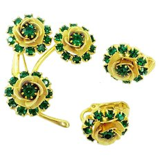Judy Lee Green Gold Flower Spray Pin & Earrings Set