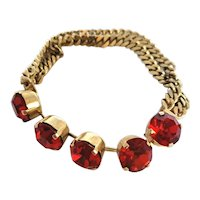 Red Rhinestone Bracelet With Serpentine Chain Unsigned