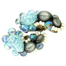 Hobe Clip Earrings Hand Beaded Confetti Blue Gray White