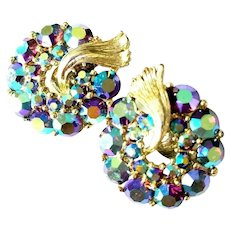 LISNER Blue Aurora Borealis Rhinestone Clip Earrings