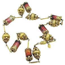 Vendome Pink and Gold Tone Necklace with Glitter Barrel Beads