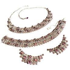 Sandor Lavender Rhinestone Parure Necklace Earrings Bracelet
